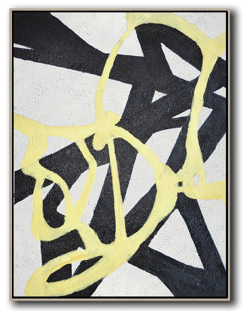Large Abstract Art,Hand-Painted Black And White Minimal Painting On Canvas,Large Canvas Wall Art For Sale