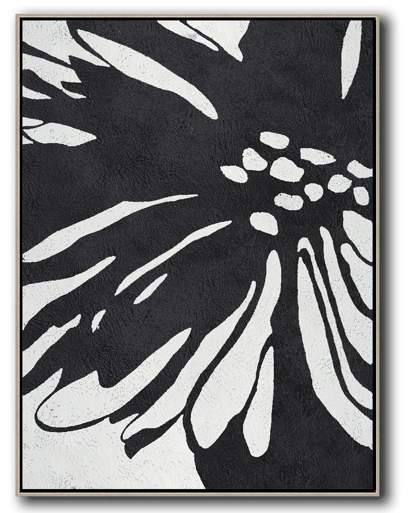 Large Modern Abstract Painting,Hand-Painted Black And White Minimal Painting On Canvas,Extra Large Paintings