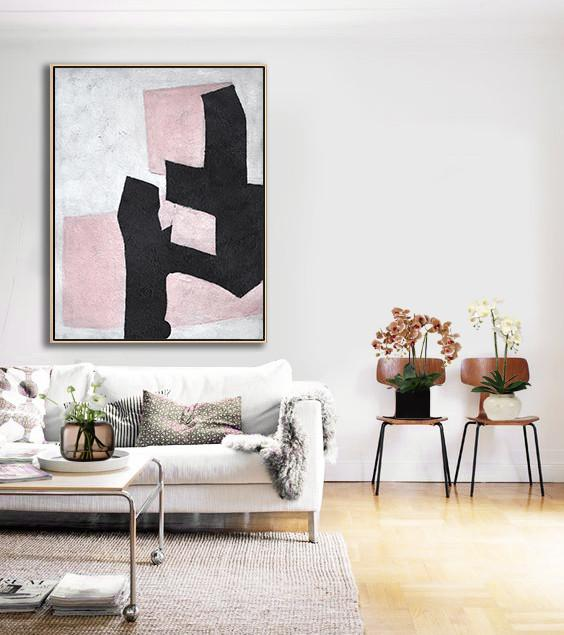 Abstract Painting Extra Large Canvas Art,Hand-Painted Black And White Minimal Painting On Canvas,Large Abstract Art Handmade Acrylic Painting
