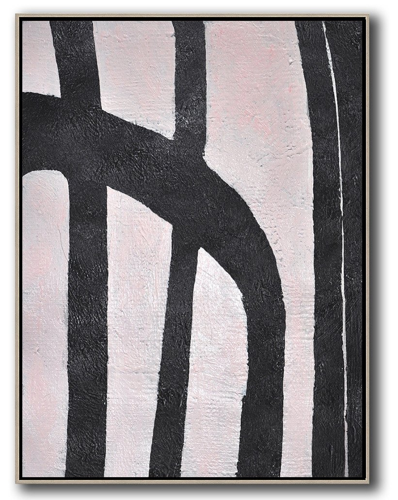 Extra Large Canvas Art,Hand-Painted Black And White Minimal Painting On Canvas,Original Abstract Painting Canvas Art