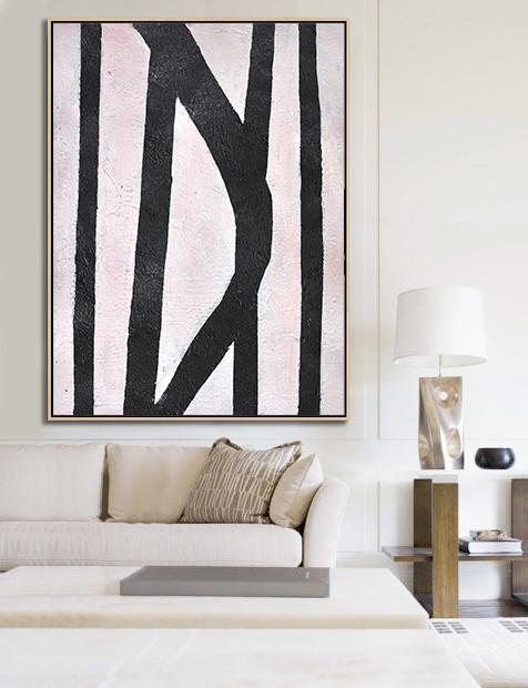 Extra Large Abstract Painting On Canvas,Hand-Painted Black And White Minimal Painting On Canvas,Extra Large Wall Art
