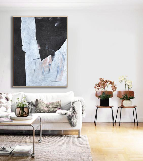 "Extra Large 72"" Acrylic Painting,Hand-Painted Black And White Minimal Painting On Canvas,Hand Painted Aclylic Painting On Canvas"