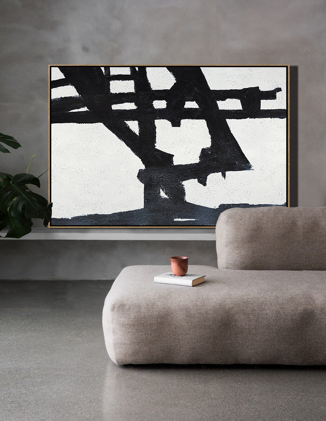 Acrylic Painting On Canvas,Hand Painted Oversized Horizontal Minimal Art On Canvas, Black And White Minimalist Painting - Large Oil Canvas Art