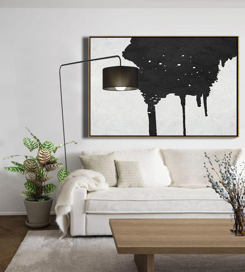 Wall Art Ideas For Living Room,Oversized Horizontal Minimal Art On Canvas, Black And White Minimalist Painting - Huge Abstract Canvas Art