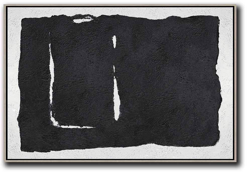 Hand Paint Large Clean Modern Art,Oversized Horizontal Minimal Art On Canvas - Hand-Painted Contemporary Art