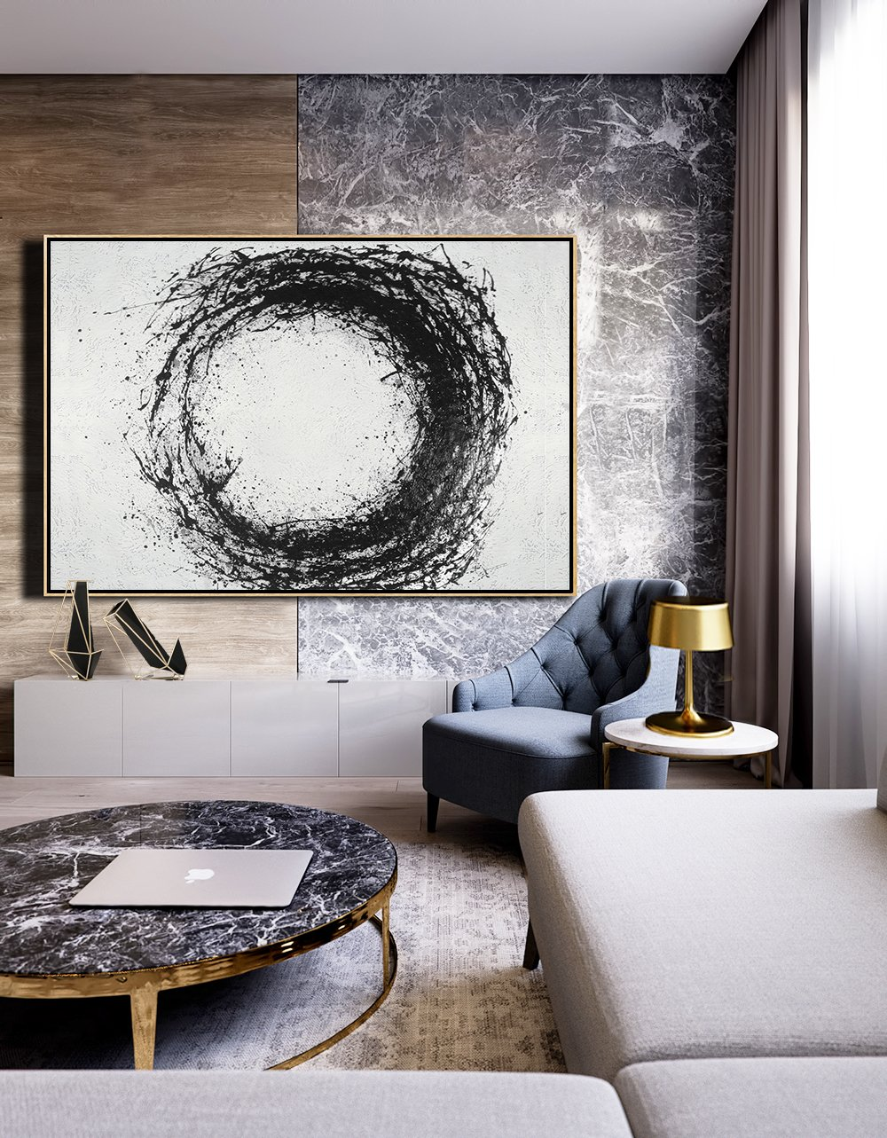 Wall Art Ideas For Living Room,Oversized Horizontal Minimalist Drip Painting On Canvas, Black And White - Extra Large Canvas Painting
