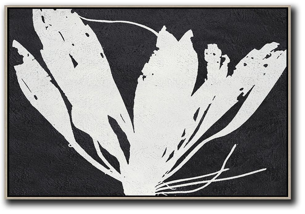 Modern Art,Oversized Horizontal Minimal Art On Canvas, Black And White Minimalist Flower Art - Modern Abstract Wall Art
