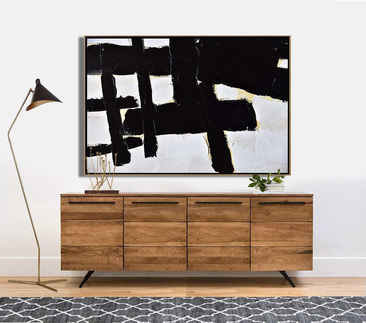 Acrylic Painting On Canvas,Horizontal Palette Knife Minimal Canvas Art Painting Black White Beige - Hand Made Original Art