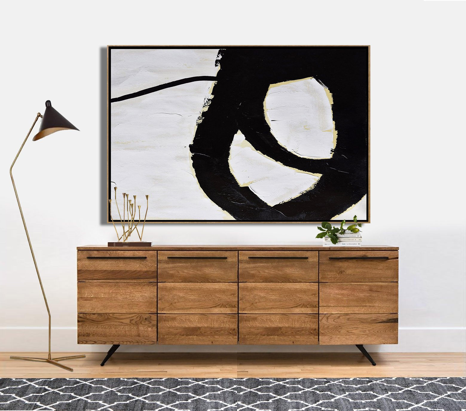 Living Room Wall Art,Horizontal Palette Knife Minimal Canvas Art Painting Black White Beige - Hand-Painted Canvas Art