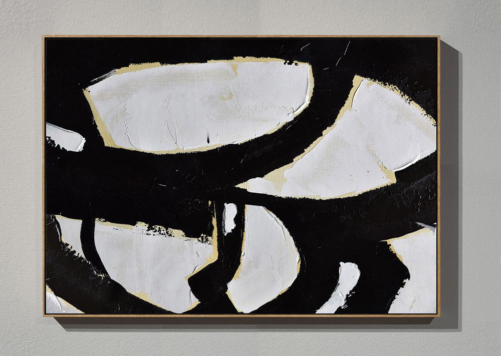 Canvas Artwork For Sale,Horizontal Palette Knife Minimal Canvas Art Painting Black White Beige - Original Abstract Painting Canvas Art