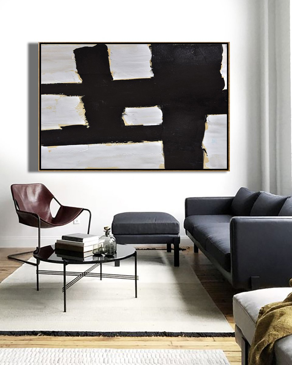 Large Canvas Art,Modern Art Abstract Painting,Horizontal Palette Knife Minimal Canvas Art Painting Black White Beige - Canvas Wall Art Home Decor