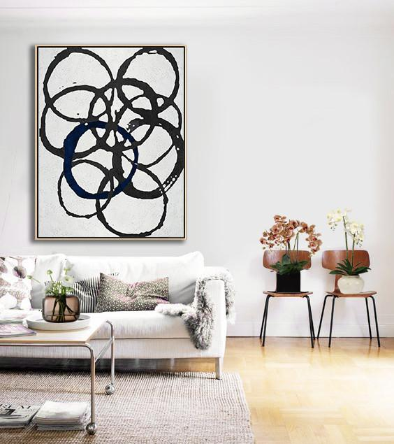 Handmade Acrylic Painting,Black And White Geometric Art Minimal Painting On Canvas - Acrylic Painting Large Wall Art