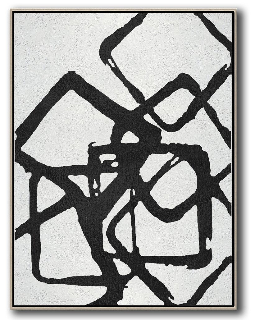 Large Modern Abstract Painting Black And White Geometric Art