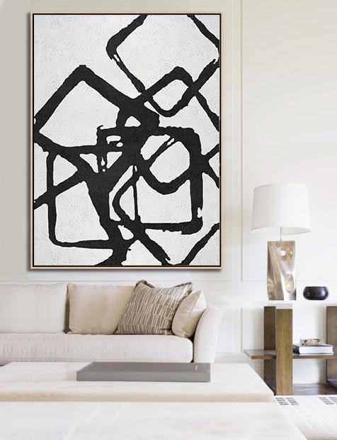 Acrylic Minimailist Painting,Black And White Geometric Art Minimal Painting On Canvas - Abstract Painting On Canvas