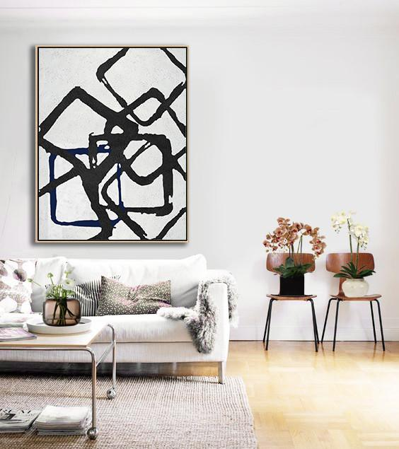 Hand Paint Large Art,Black And White Geometric Art Minimal Painting On Canvas - Textured Painting Canvas Art