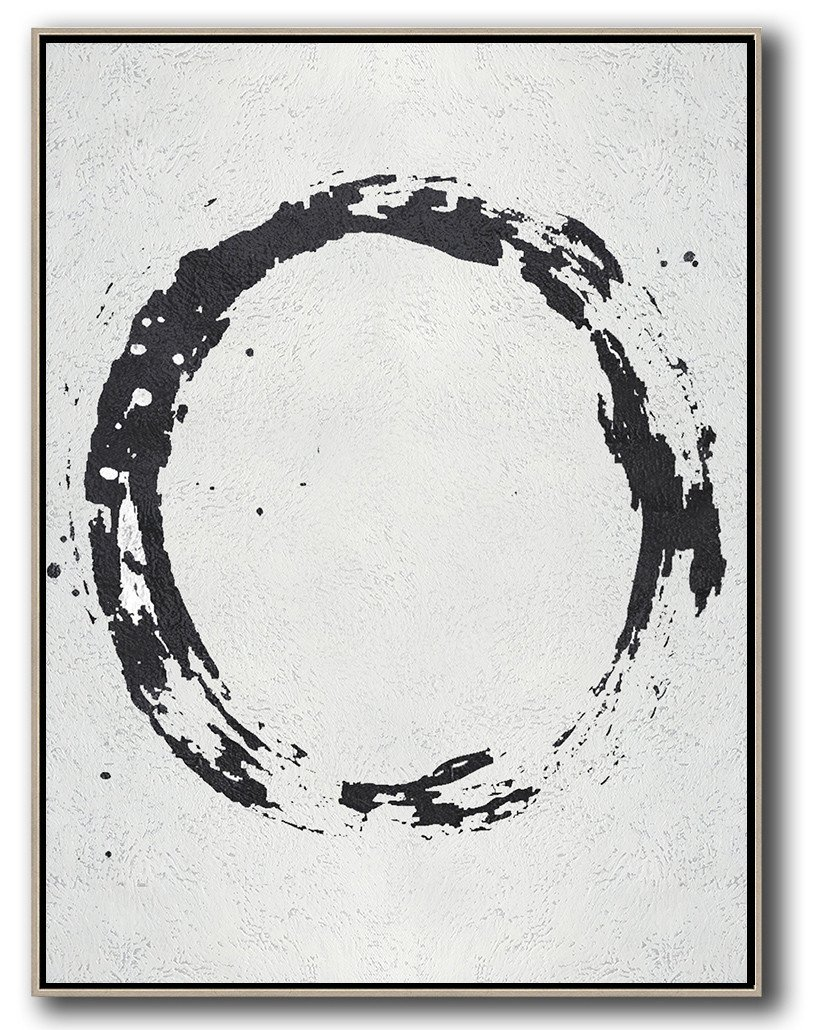 Extra Large Acrylic Painting On Canvas,Geometric Art Black And White Minimal Painting On Canvas - Oversized Art