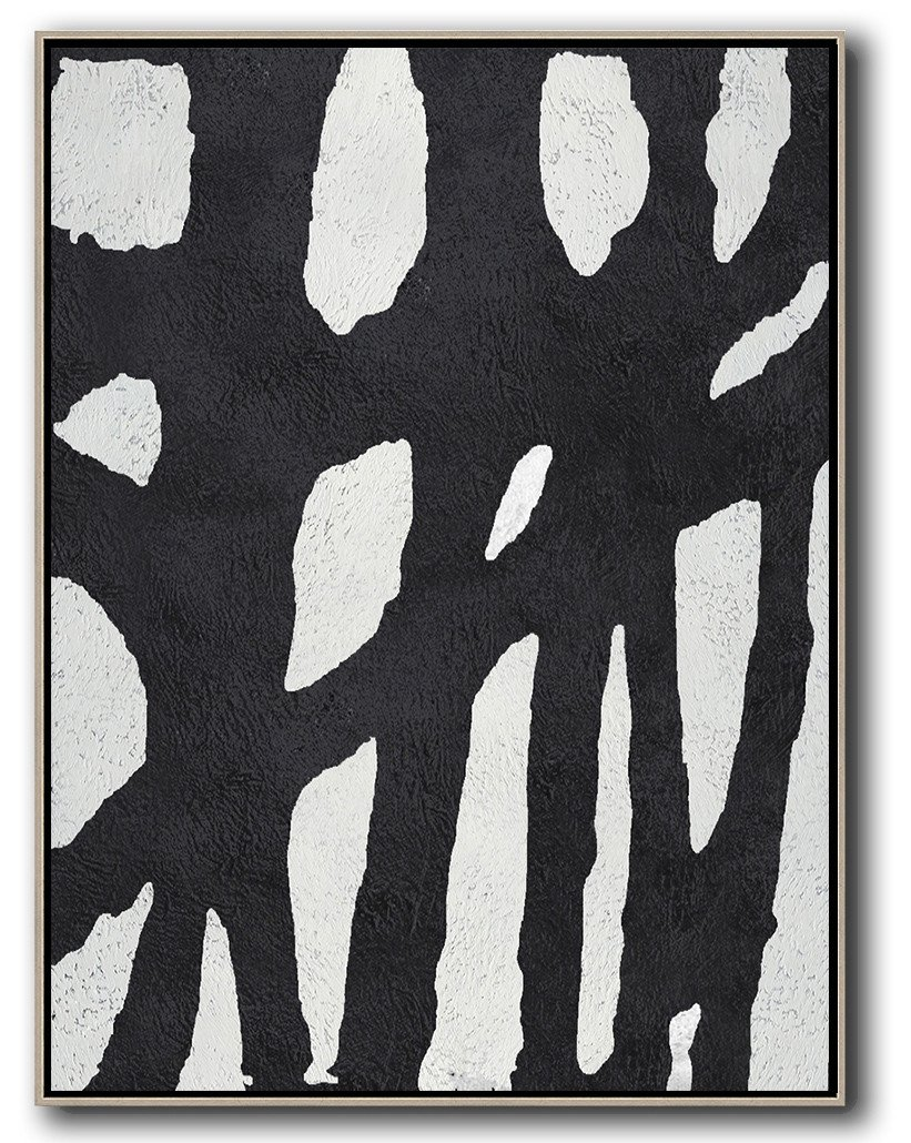 Large Abstract Painting On Canvas,Black And White Minimalist Painting On Canvas - Modern Canvas Art