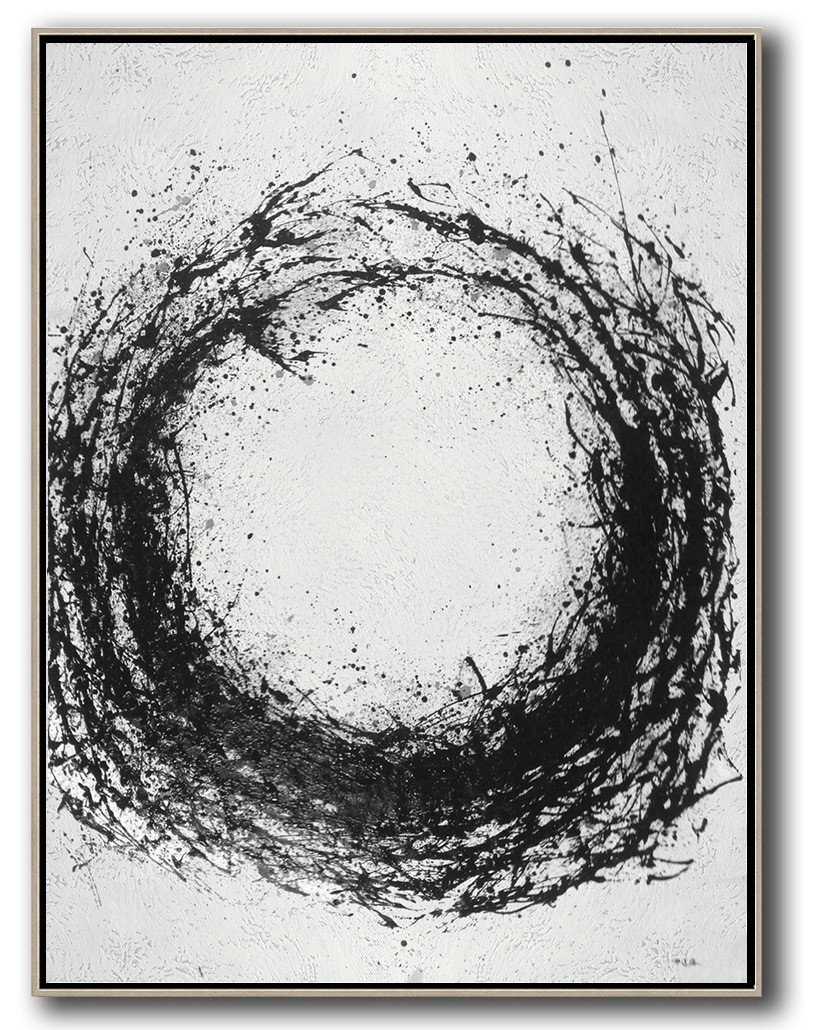 Black White Large Hand Painted Original Abstract