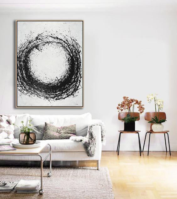 Extra Large Textured Painting On Canvas,Geometric Art Black And White Minimal Painting On Canvas - Multicolor Abstract Painting