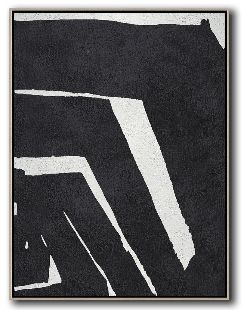 Abstract Painting Extra Large Canvas Art,Black And White Minimal Painting On Canvas - Artwork For Sale