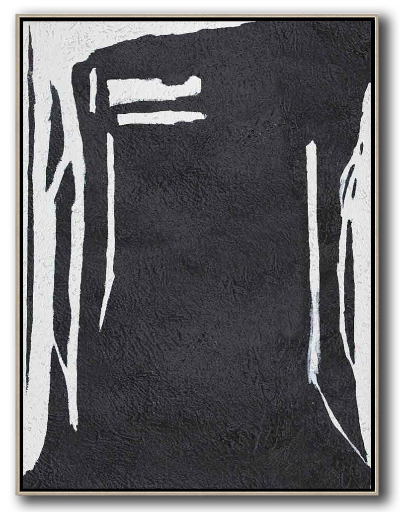 Large Abstract Painting Canvas Art,Black And White Minimal Painting On Canvas - Abstract Oil Painting