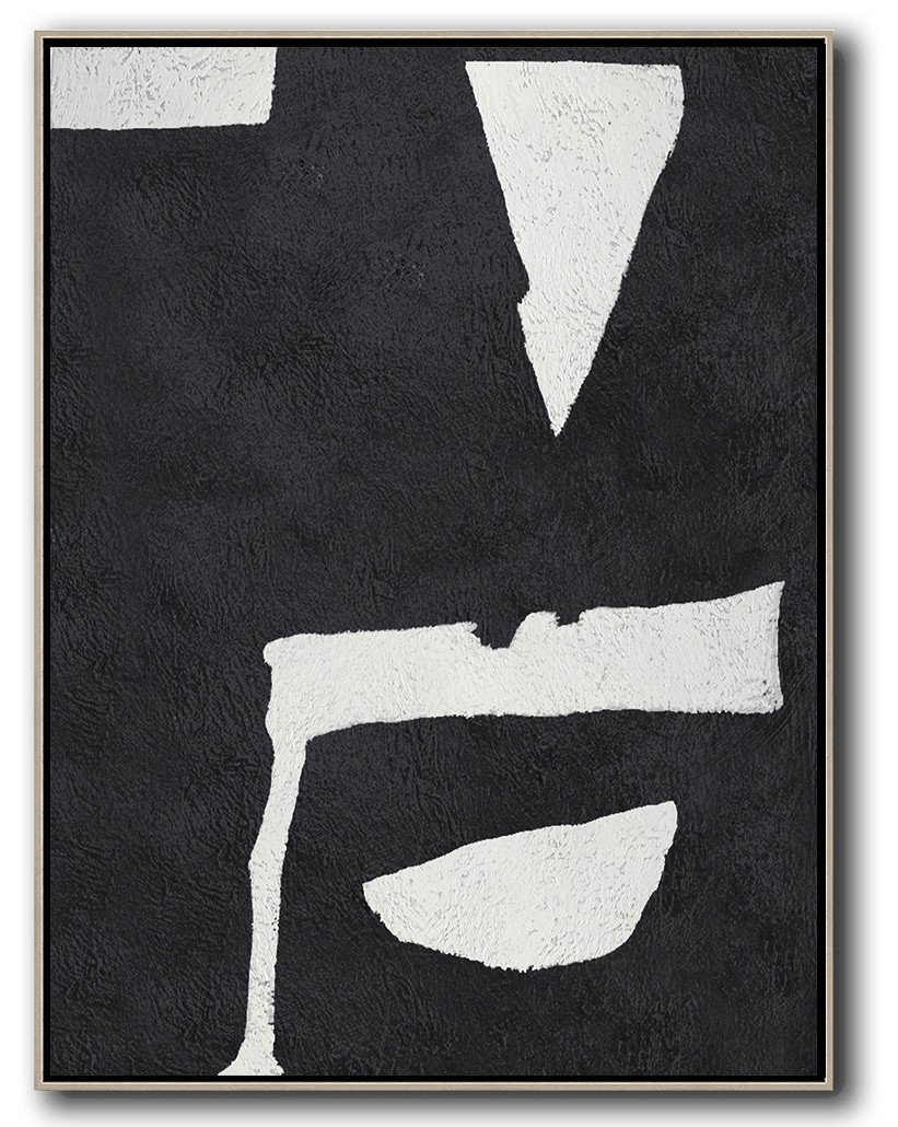 Handmade Large Contemporary Art,Black And White Minimal Painting On Canvas - Modern Paintings