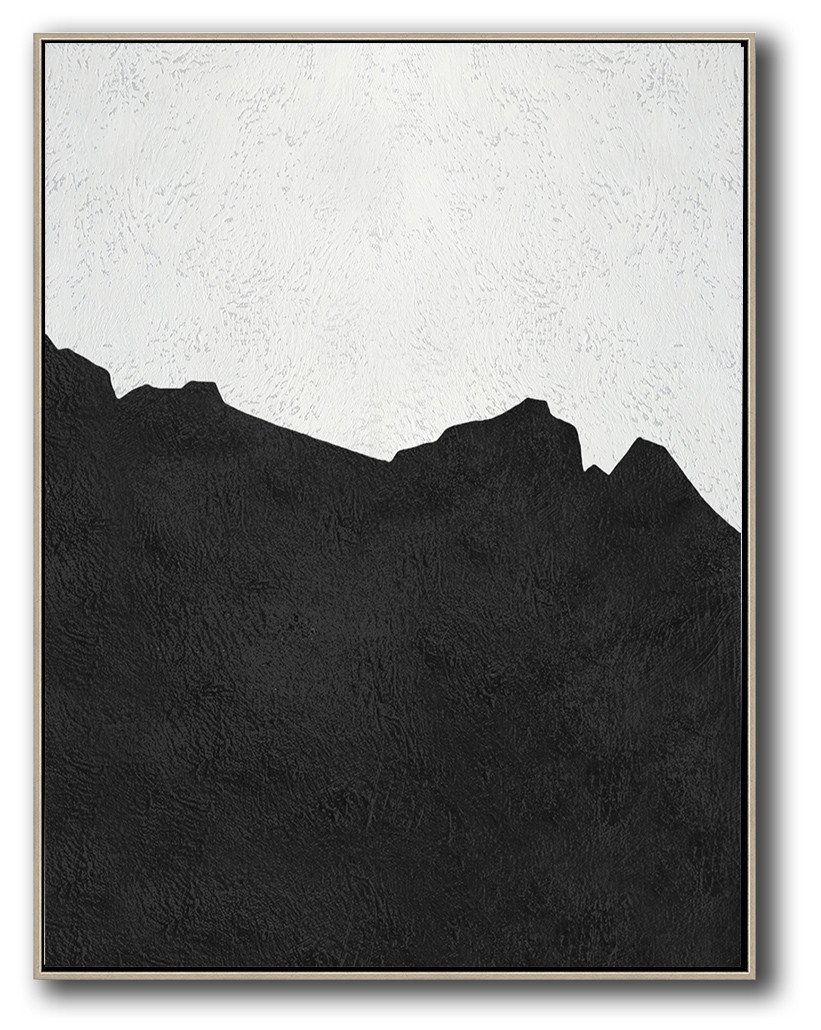 Hand Painted Extra Large Abstract Painting,Black And White Minimal Painting On Canvas - Art Work