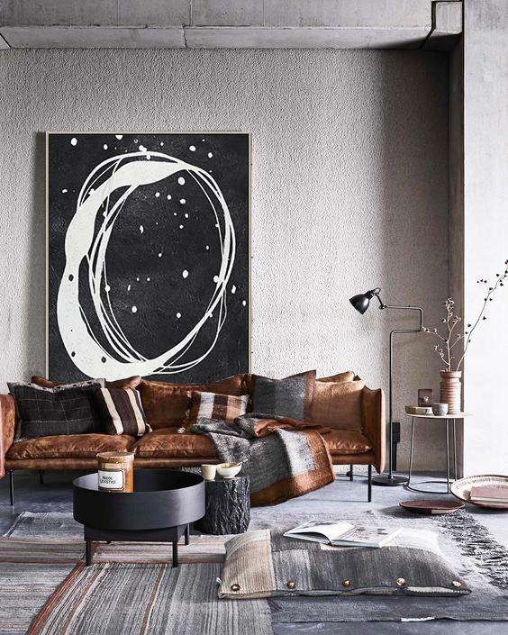Abstract Painting Extra Large Canvas Art,Black And White Minimal Painting On Canvas - Large Abstract Wall Art