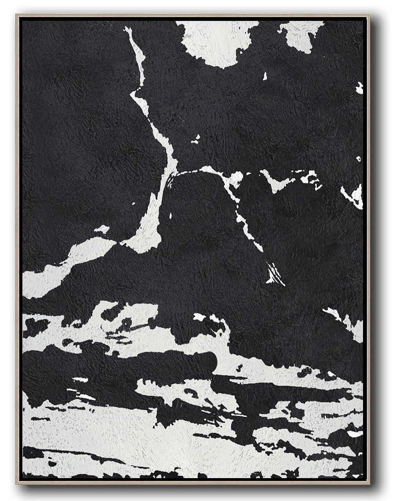 "Extra Large 72"" Acrylic Painting,Black And White Minimalist Painting On Canvas - Large Abstract Wall Art"