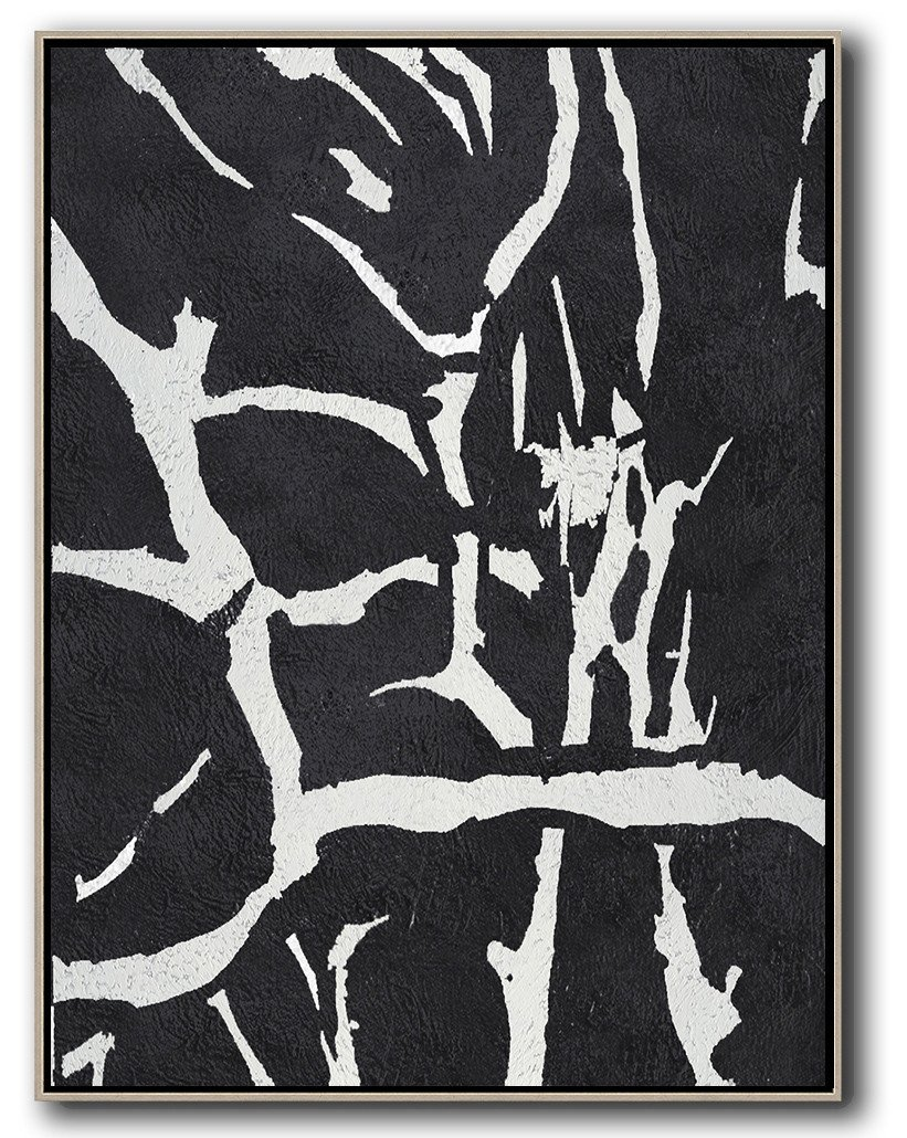 Hand Made Abstract Art,Black And White Minimalist Painting On Canvas - Modern Canvas Art
