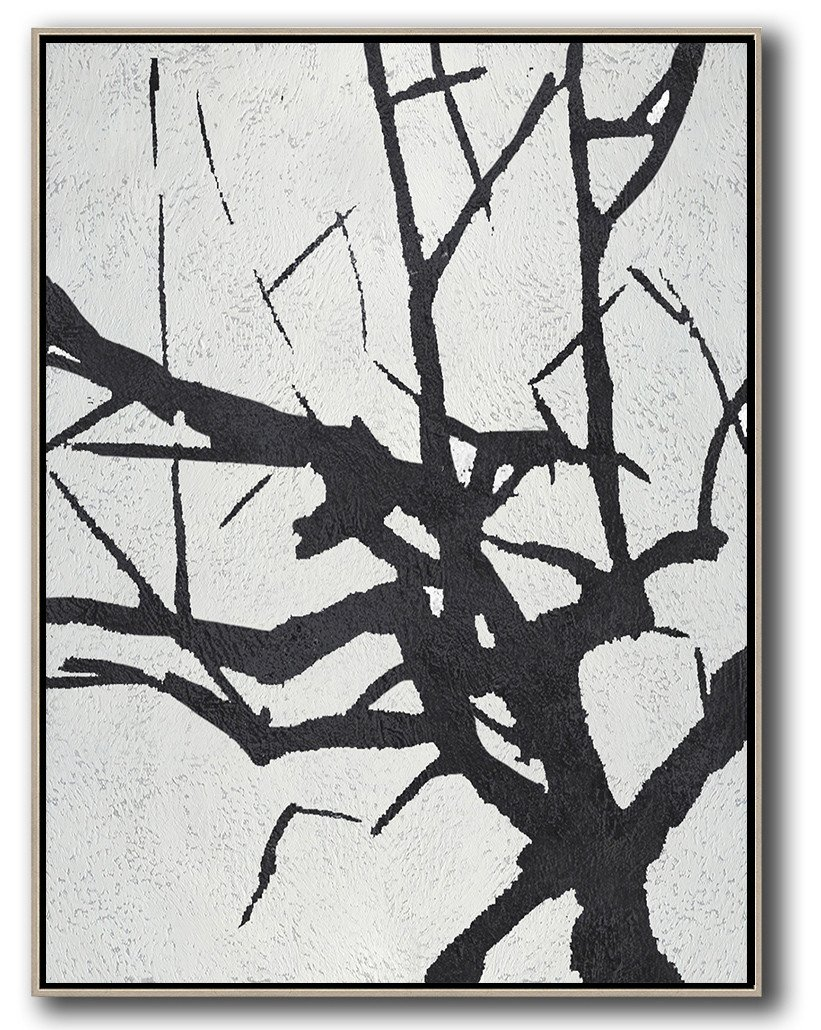 Handmade Large Painting,Black And White Minimalist Painting On Canvas - Canvas Paintings For Sale
