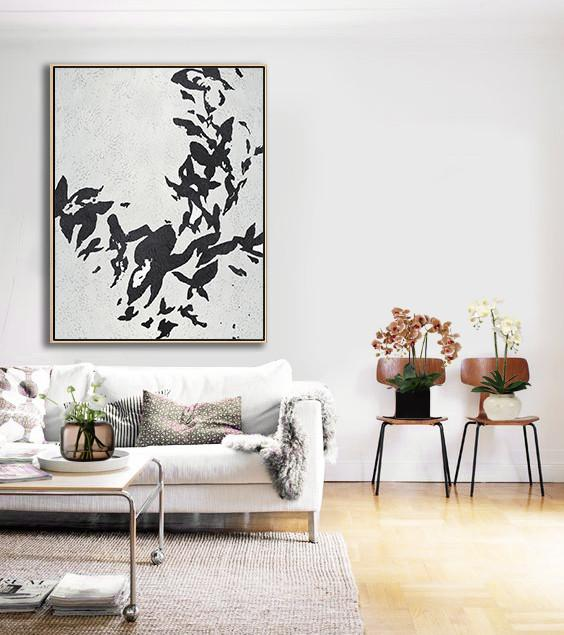 Extra Large Acrylic Painting On Canvas,Black And White Minimalist Painting On Canvas - Wall Art Painting