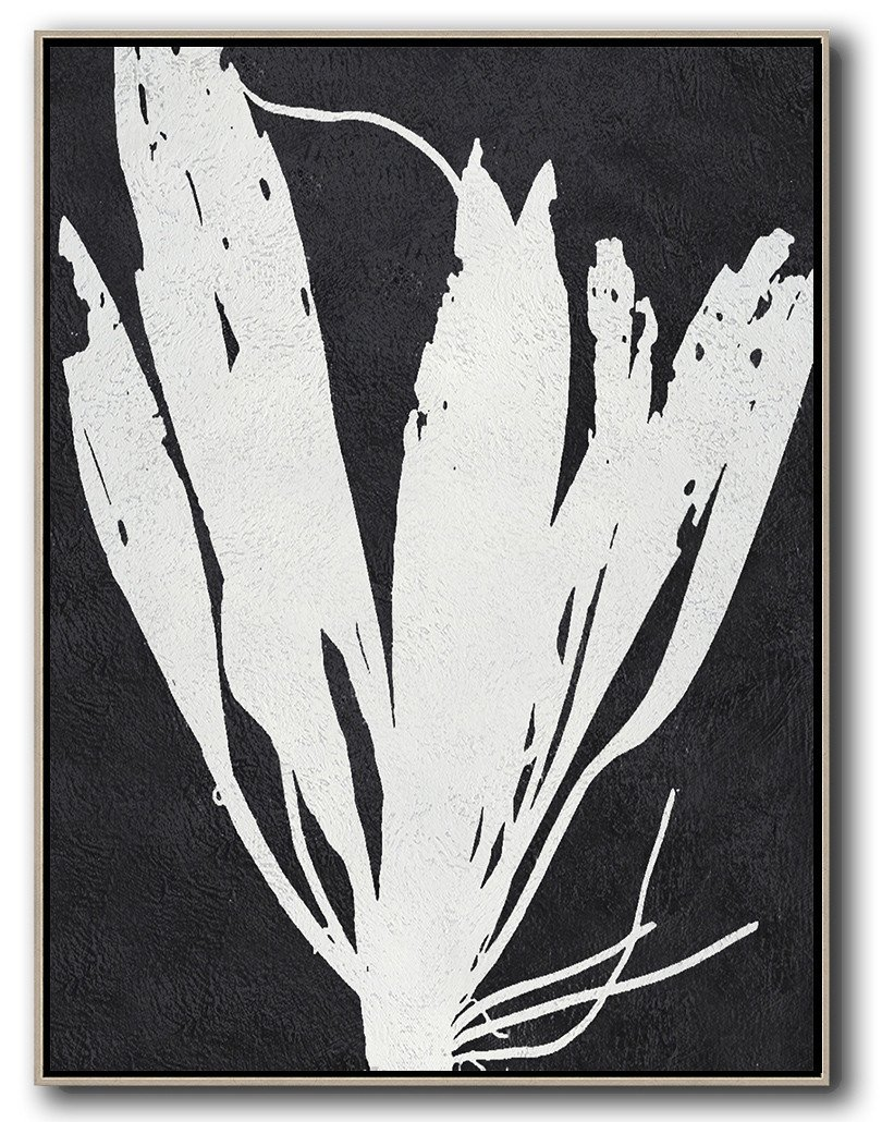 Xl Large Canvas Art,Black And White Minimalist Painting On Canvas - Abstract Painting For Home