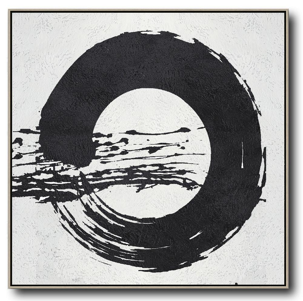 Extra Large Acrylic Painting On Canvas,Oversized Minimal Black And White Painting - Huge Abstract Canvas Art