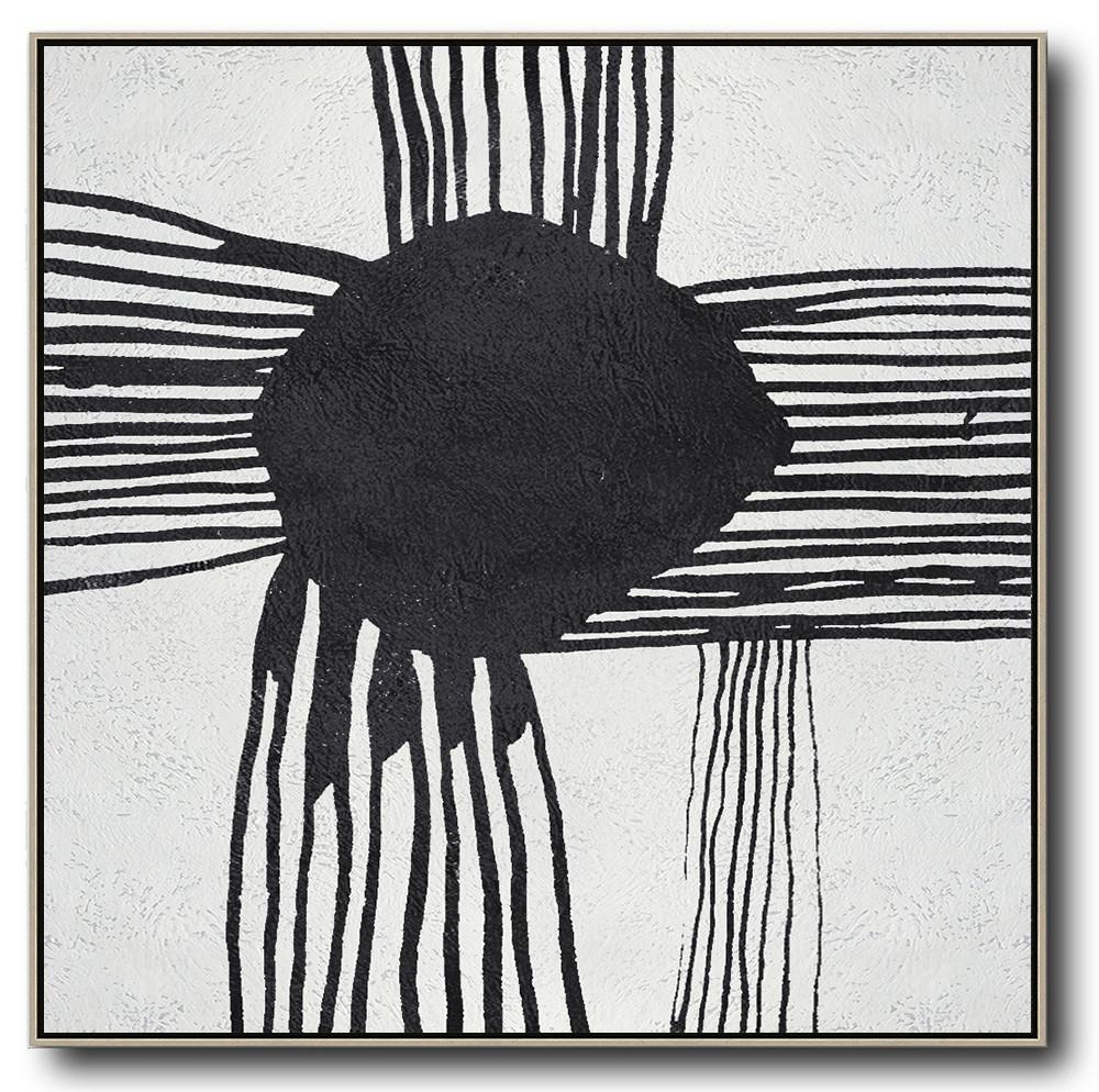 Modern Abstract Wall Art,Oversized Minimal Black And White Painting - Large Wall Art Canvas