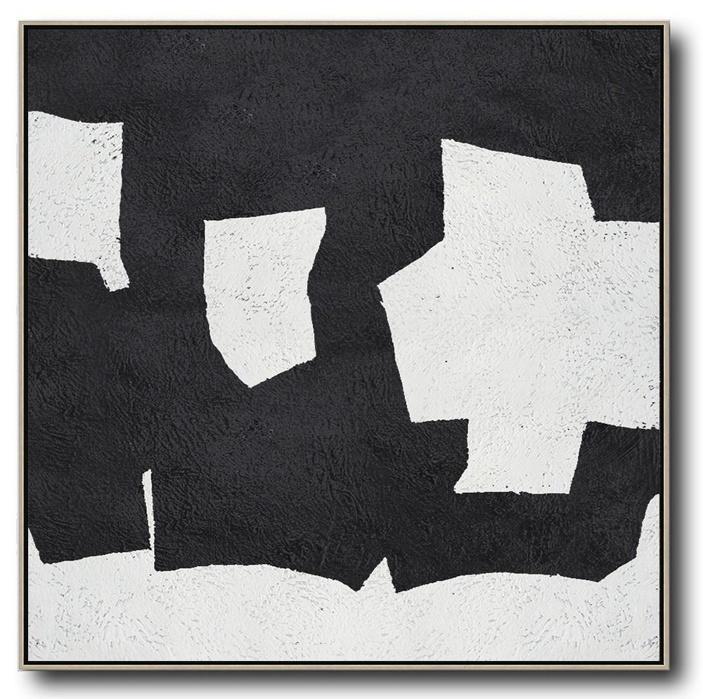 Large Abstract Art,Oversized Minimal Black And White Painting - Large Wall Canvas