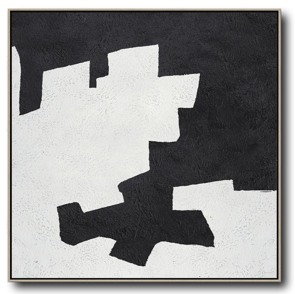 Abstract Painting Extra Large Canvas Art,Oversized Minimal Black And White Painting - Huge Canvas Art On Canvas