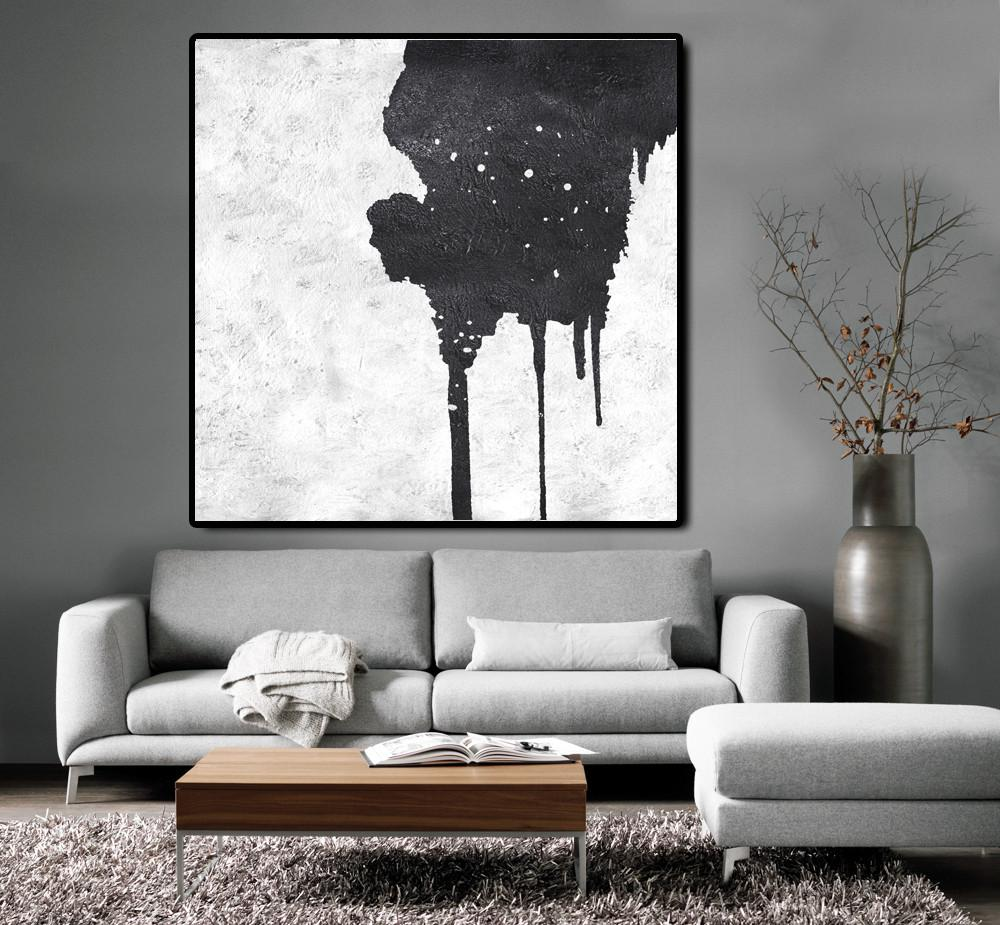 Extra Large Canvas Art,Oversized Minimal Black And White Painting - Large Paintings For Living Room