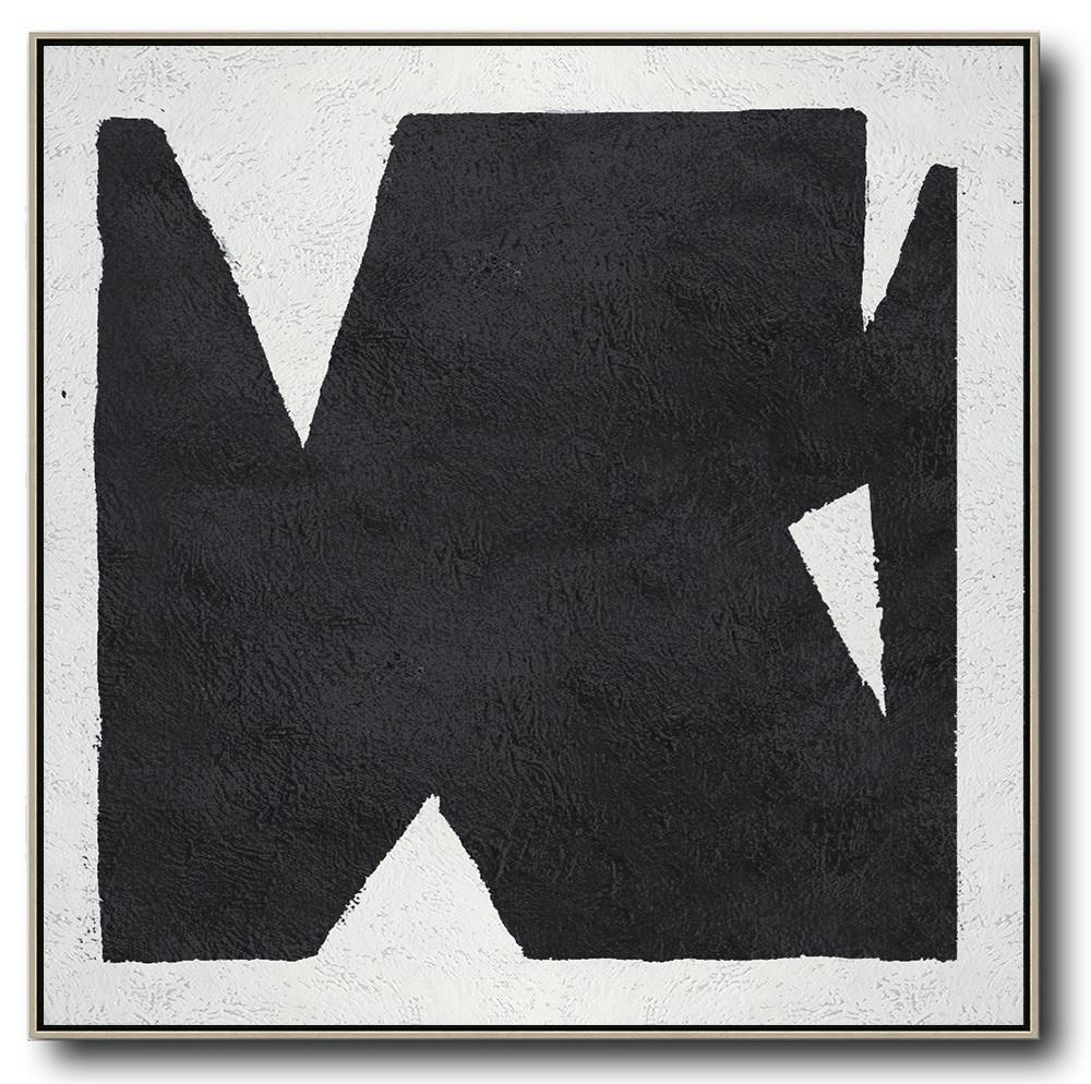 Extra Large Abstract Painting On Canvas,Oversized Minimal Black And White Painting - Extra Large Paintings