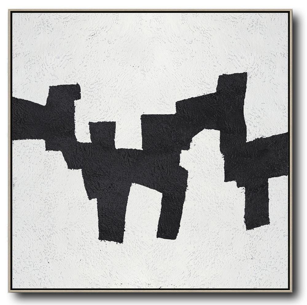Hand Made Abstract Art,Oversized Minimal Black And White Painting - Custom Canvas Wall Art