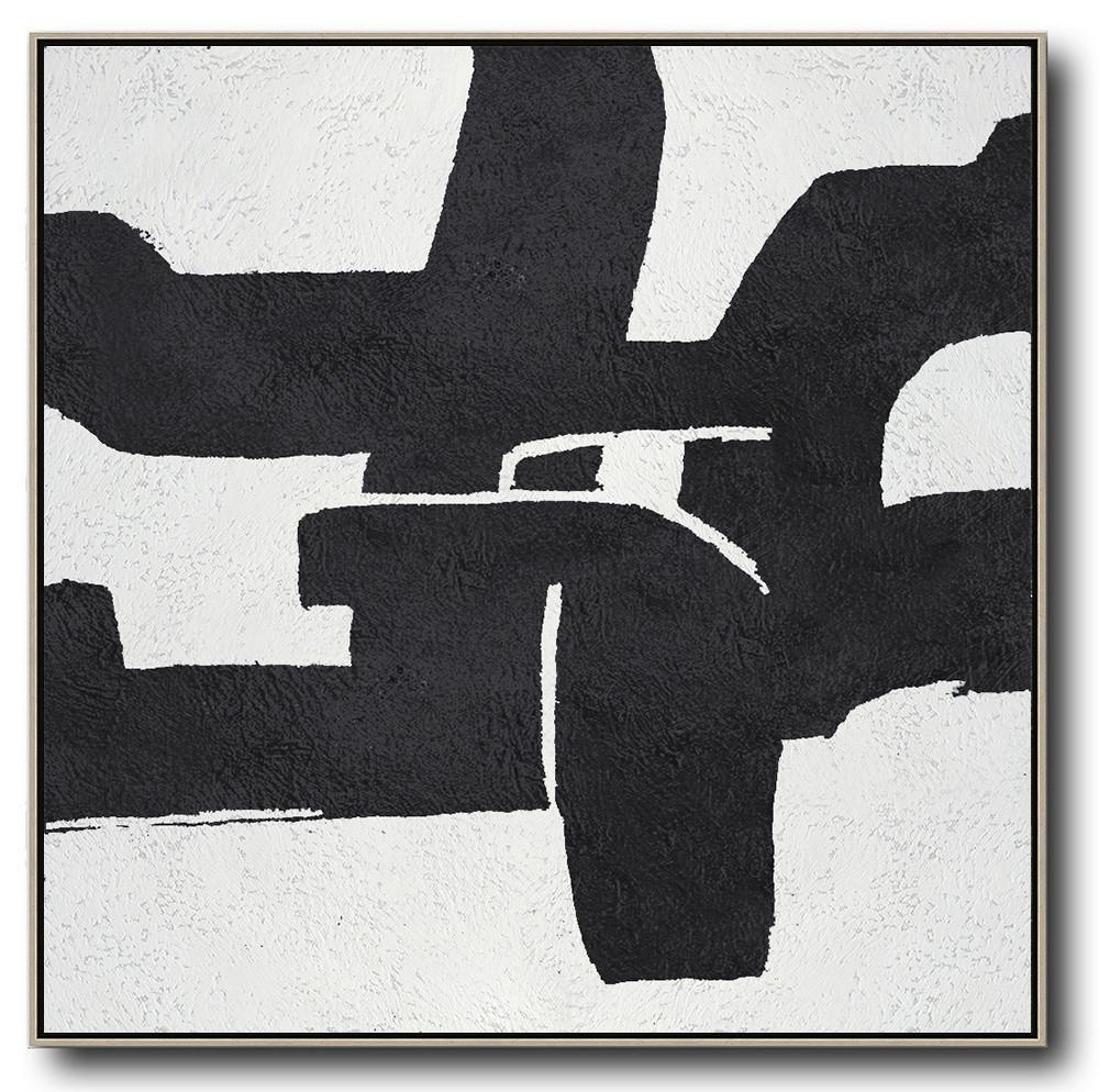 Extra Large Acrylic Painting On Canvas,Oversized Minimal Black And White Painting - Large Contemporary Painting