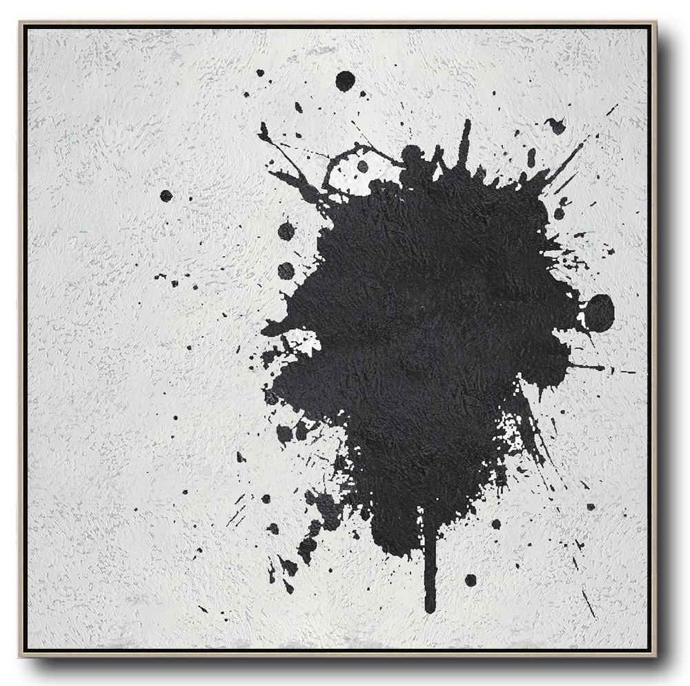 Original Artwork Extra Large Abstract Painting,Oversized Minimal Black And White Painting - Handmade Acrylic Painting