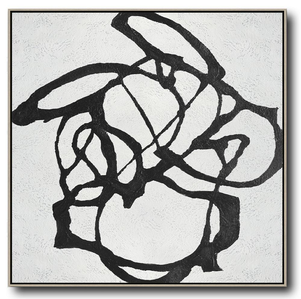 Large Abstract Art,Oversized Minimal Black And White Painting - Canvas Artwork For Sale