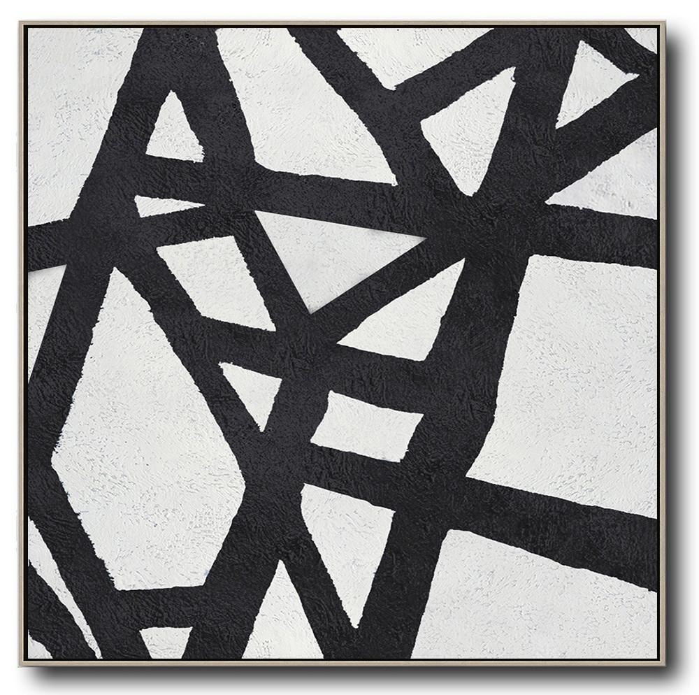Oversized Art,Oversized Minimal Black And White Painting - Large Canvas Art