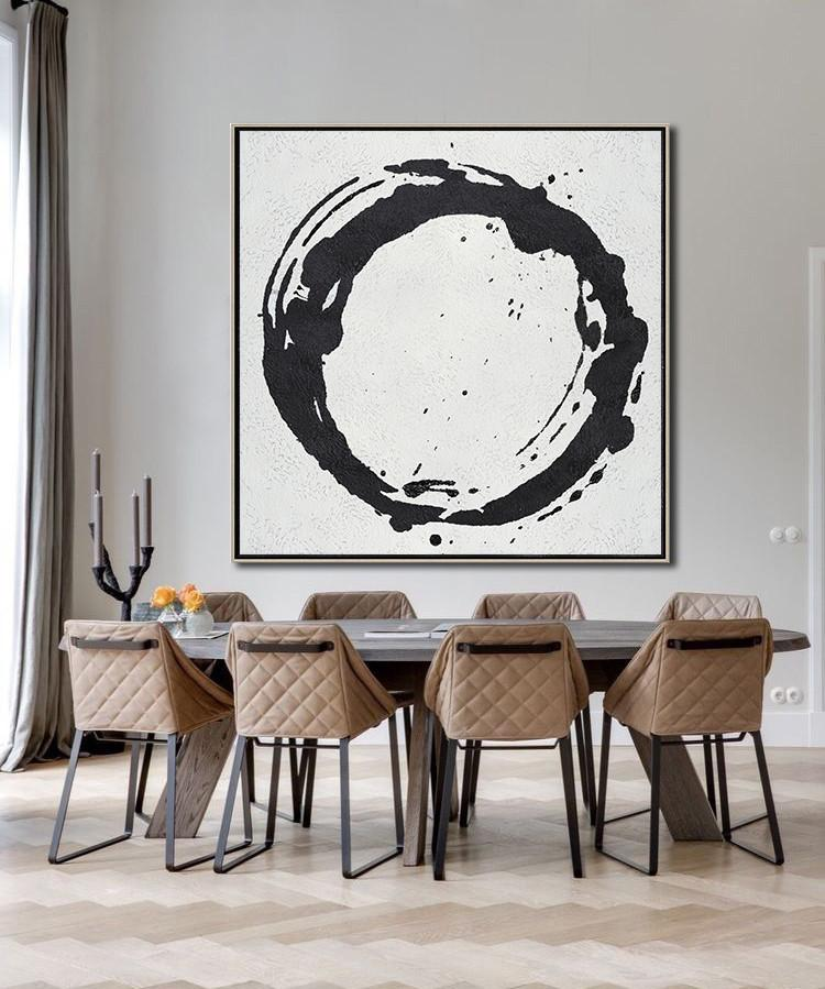 Extra Large Painting,Oversized Minimal Black And White Painting - Acrylic Painting On Canvas - Click Image to Close