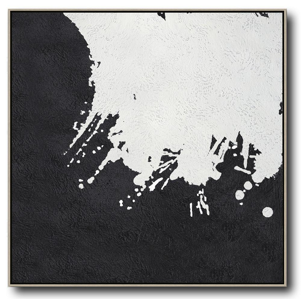 Extra Large Acrylic Painting On Canvas,Oversized Minimal Black And White Painting - Textured Painting Canvas Art
