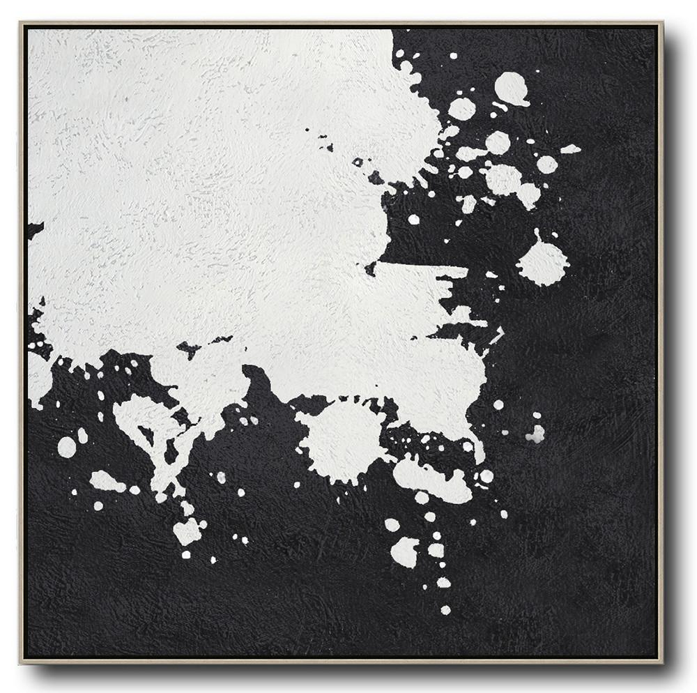 Large Abstract Painting On Canvas,Oversized Minimal Black And White Painting - Modern Wall Decor