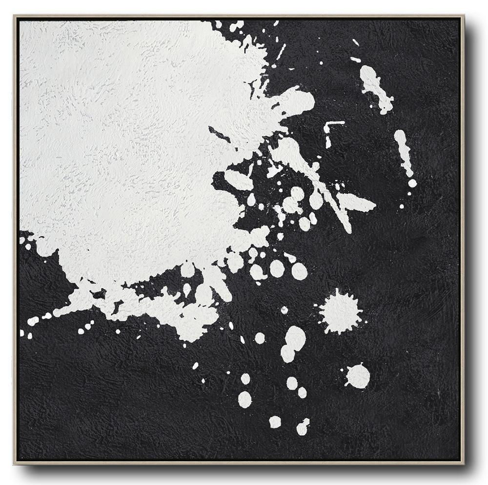 Extra Large Painting,Oversized Minimal Black And White Painting - Contemporary Wall Art