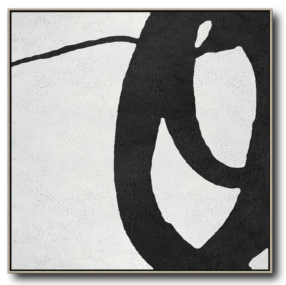 Hand Painted Extra Large Abstract Painting,Oversized Minimal Black And White Painting - Wall Art Painting