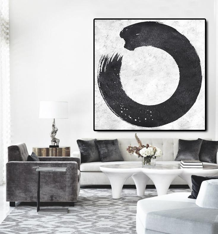 Large Abstract Art Handmade Painting,Oversized Minimal Black And White Painting - Abstract Oil Painting